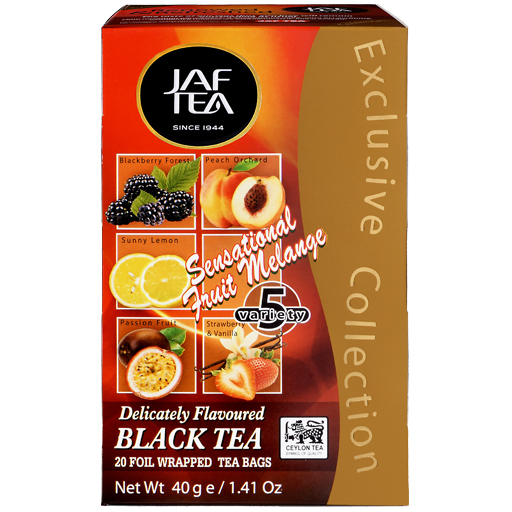 """JAFTEA черный чай """"Чувственный фруктовый меланж"""" (SENSATIONAL FRUIT MELANGE) 25 пакетиков по 2гр"""