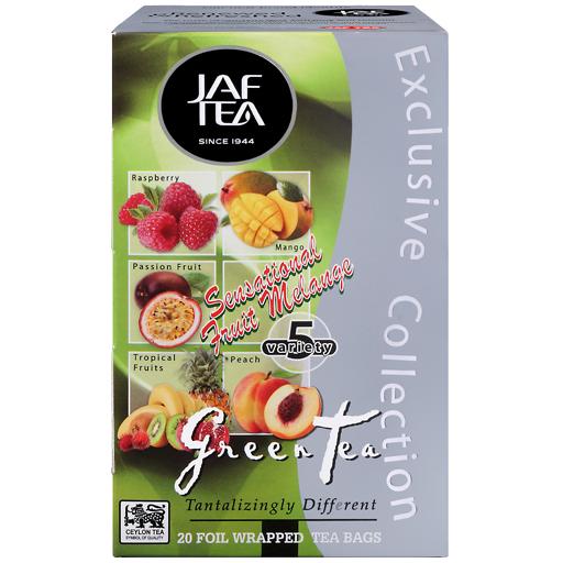 """JAFTEA зеленый чай """"Чувственный фруктовый меланж"""" (SENSATIONAL FRUIT MELANGE) 25 пакетиков по 2гр"""